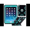 Hybrid Armor Defender with Kickstand Full Protect Cover for iPad Air/ iPad 2017, 2018 [Black- light blue]