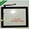 iPad 4 touch screen with home button cable and adhesive tape attached [Black]